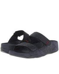 Темно-синие сандалии из плотной ткани