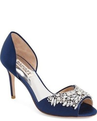 Темно-синие сатиновые туфли с украшением