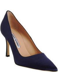Темно-синие сатиновые туфли