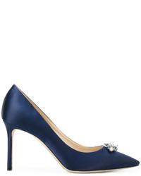 Темно-синие сатиновые туфли от Jimmy Choo