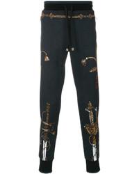 Мужские темно-синие спортивные штаны с принтом от Dolce & Gabbana