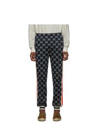 Мужские темно-синие спортивные штаны с принтом от Gucci
