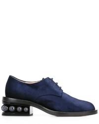 Женские темно-синие туфли дерби от Nicholas Kirkwood
