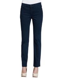 Темно-синие узкие брюки с принтом