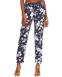 Темно-синие узкие брюки с цветочным принтом