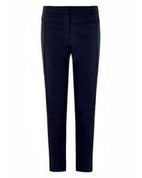 Темно-синие узкие брюки