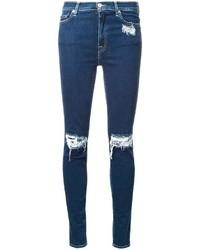 Женские темно-синие хлопковые рваные джинсы скинни от 7 For All Mankind