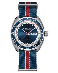 Темно-синие часы из плотной ткани в горизонтальную полоску