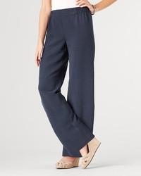 Темно-синие шелковые широкие брюки