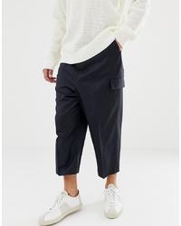 Темно-синие шерстяные брюки карго