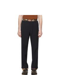 Темно-синие шерстяные брюки чинос с принтом от Dries Van Noten