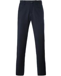 Темно-синие шерстяные брюки чинос