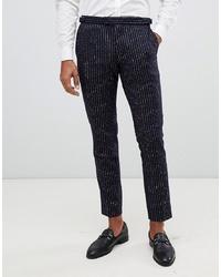 Мужские темно-синие шерстяные классические брюки в вертикальную полоску от MOSS BROS