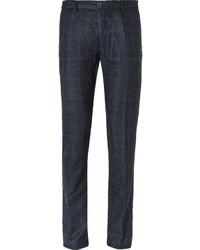 Темно-синие шерстяные классические брюки в клетку