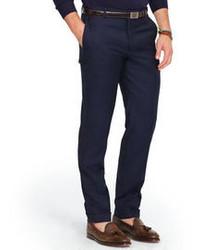 Темно-синие шерстяные классические брюки