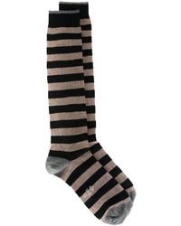 Мужские темно-синие шерстяные носки в горизонтальную полоску от Eleventy