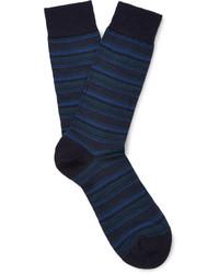 Мужские темно-синие шерстяные носки в горизонтальную полоску от Pantherella