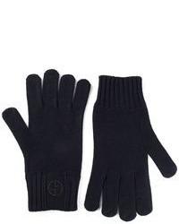 Темно-синие шерстяные перчатки