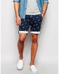 Мужские темно-синие шорты с принтом