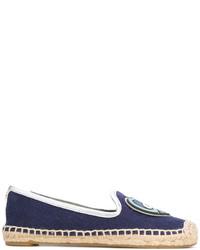 Женские темно-синие эспадрильи из плотной ткани от Tory Burch