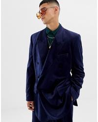 Мужской темно-синий бархатный двубортный пиджак от ASOS DESIGN