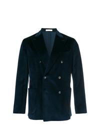 Мужской темно-синий бархатный двубортный пиджак от Boglioli