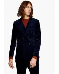 Мужской темно-синий бархатный двубортный пиджак от Topman
