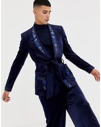Мужской темно-синий бархатный пиджак с цветочным принтом от ASOS Edition