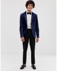 Мужской темно-синий бархатный пиджак от ASOS DESIGN