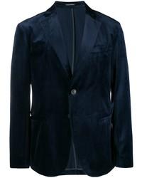 Мужской темно-синий бархатный пиджак от Emporio Armani