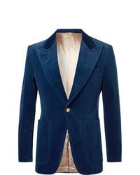 Мужской темно-синий бархатный пиджак от Gucci