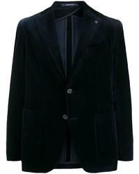 Мужской темно-синий бархатный пиджак от Tagliatore