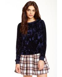 Темно-синий бархатный свитер с круглым вырезом