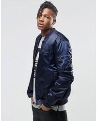 Мужской темно-синий бомбер от adidas