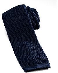 Темно-синий вязаный галстук
