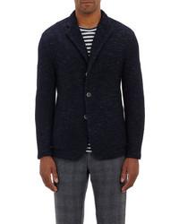 Темно-синий вязаный пиджак