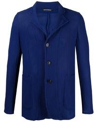 Мужской темно-синий вязаный пиджак от Emporio Armani