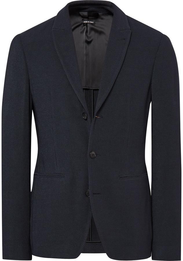 Мужской темно-синий вязаный пиджак от Giorgio Armani   Где купить и ... faace6506dc