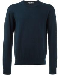 Темно-синий вязаный свитер с круглым вырезом