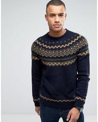 Мужской темно-синий вязаный свитер с круглым вырезом от Esprit