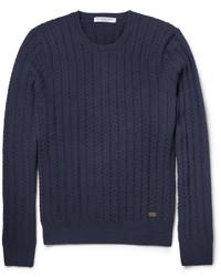 Мужской темно-синий вязаный свитер от Burberry