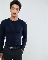 Мужской темно-синий вязаный свитер от Gianni Feraud