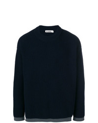 Мужской темно-синий вязаный свитер от Jil Sander