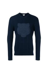 Мужской темно-синий вязаный свитер от Kenzo