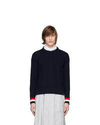 Мужской темно-синий вязаный свитер от Thom Browne