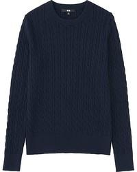 Женский темно-синий вязаный свитер от Uniqlo