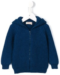 Детский темно-синий вязаный худи для мальчику