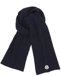Темно-синий вязаный шарф