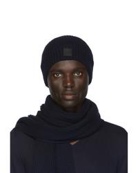 Мужской темно-синий вязаный шарф от BOSS