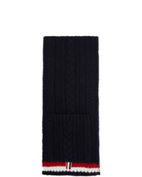Мужской темно-синий вязаный шарф от Thom Browne